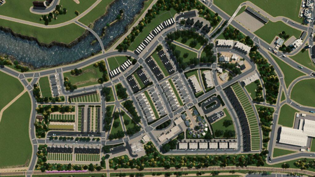 Návrh čtvrti jednoho ze soutěžících ze hry Cities Skylines